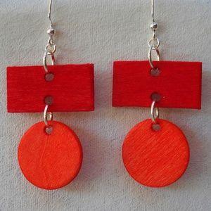 Rectangle Circle Hoop Earrings Red Orange Wood